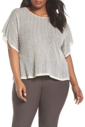 Eileen Fisher Stripe Organic Linen Blend Top (Plus Size)