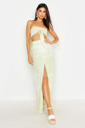 boohoo Tie Dye Tie Front Bandeau & Maxi Skirt Co-Ord