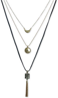 """Lucky Brand Gold-Tone Black Mother-of-Pearl Stone Three-Row Pendant Necklace, 27-1/2"""" + 1"""" extender"""