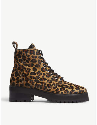 The Kooples Leopard-print pony-hair boots