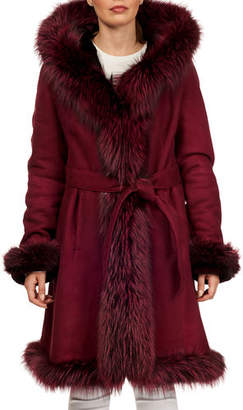 Gorski Fox-Fur Trim Lamb-Shearling Wrap Coat