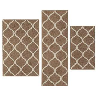 Maples Rugs Kitchen Rug Set - Rebecca [3pc Set] Non Kid Accent Throw Rugs Runner [Made in USA] for Entryway and Bedroom