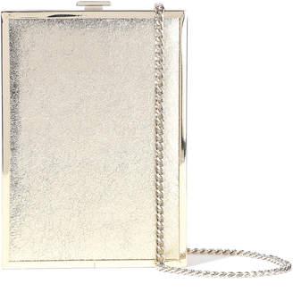 Halston Frame Minaudiere Metallic Cracked-leather Box Clutch