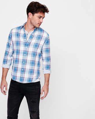 Express Slim Soft Wash Plaid Double Weave Button-Down Shirt