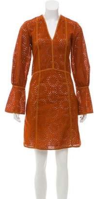 Derek Lam Broderie Anglaise Knee-Length Dress