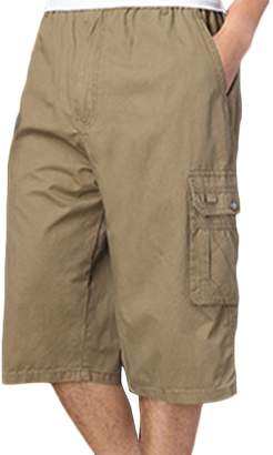 Liveinu Men's Casual Cargo Shorts Elastic Waist Short Big and Tall M