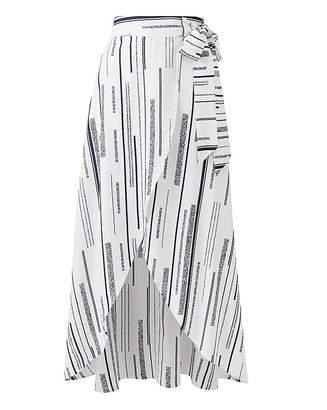 Fashion World Petite Print Mock Wrap Tie Waist Skirt