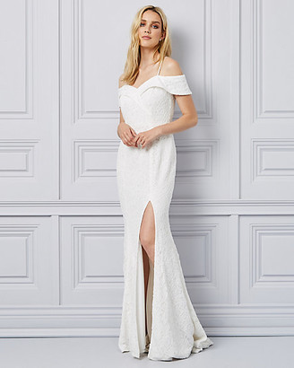 Le Château Lace Off-the-Shoulder Gown