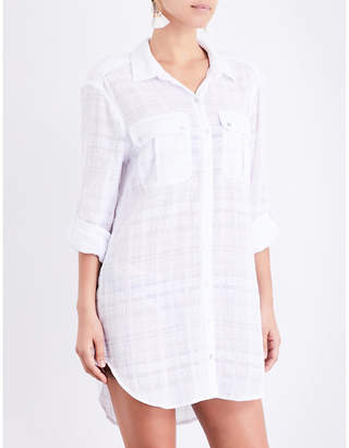 Seafolly Textured dobby stripe cotton-voile shirt $71 thestylecure.com