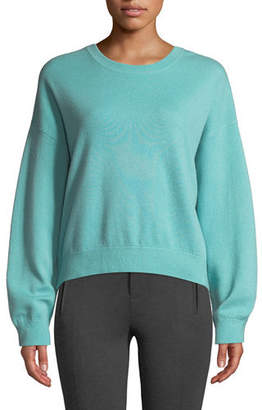 Vince Double-Layer Cashmere Cotton Crewneck Pullover Sweatshirt