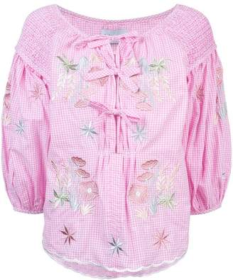 Innika Choo gingham embroidered floral blouse