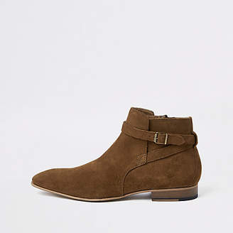 River Island Brown suede buckle Chelsea boots