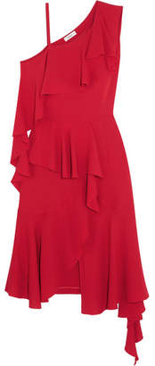 Goen J - Asymmetric Ruffled One-shoulder Silk-crepe Midi Dress - Red
