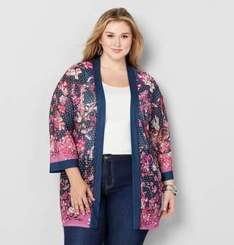 Avenue Plus Size Floral Border Dot Kimono