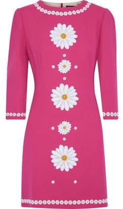 Dolce & Gabbana Floral-appliqued Wool-crepe Mini Dress