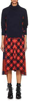 Sacai Women's Checked Mixed-Media Dress