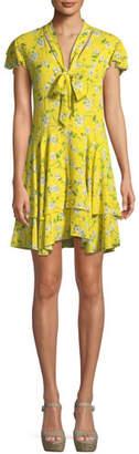 Alice + Olivia Moore Flutter-Sleeve Tiered Knee-Length Dress