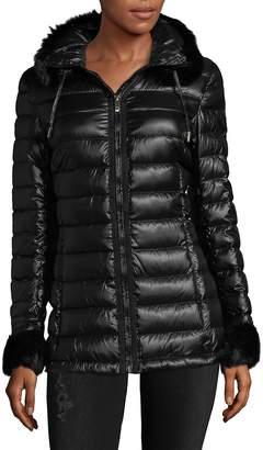 Via Spiga Women's Short Faux Fur Puffer Jacket