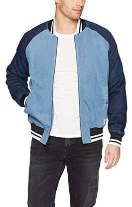 Calvin Klein Jeans Men's Denim Baseball Logo Bomber Jacket