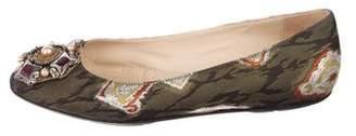 Oscar de la Renta Embellished Round-Toe Flats