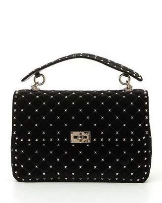 Valentino Rockstud Spike Large Velvet Top-Handle Bag