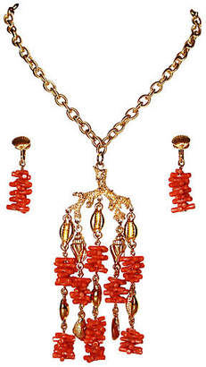 One Kings Lane Vintage Trifari Faux-Coral Necklace & Earrings