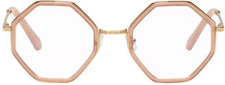 Chloé Gold and Pink Octagon Glasses