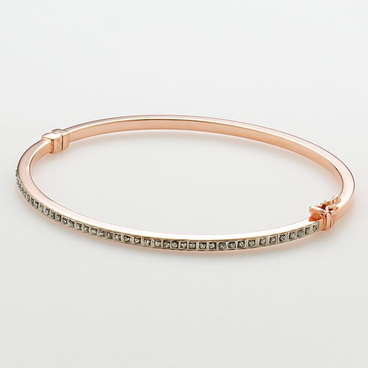 Mystique Diamond 18k rose gold over silver diamond accent bangle bracelet