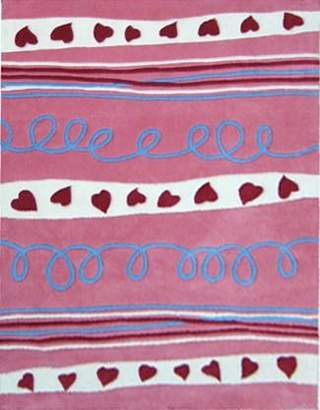 Unitex International Kidding Around-hearts And Stripes Rug