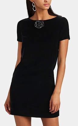 Saint Laurent Women's Rose-Appliquéd Velvet Dress - Black