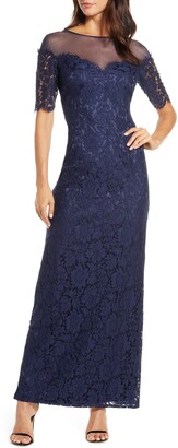 Eliza J Illusion Top Lace Evening Gown