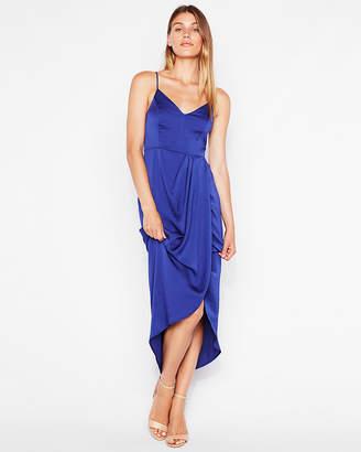 Express Petite Satin Faux Wrap Maxi Dress