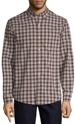 ST. JOHN'S BAY Mens Long Sleeve Holiday Button-Front Shirt
