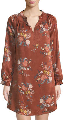 Laundry by Shelli Segal Smocked-Neck Floral Charmeuse Sheath Dress