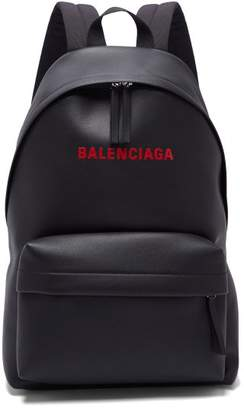 Balenciaga Everyday Logo Print Leather Backpack - Mens - Black Red