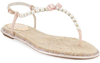 Rene Caovilla Pearly Flat Thong Sandals