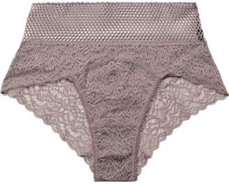 Else - Arya Stretch-lace And Mesh Briefs - Lilac