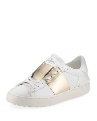 Valentino Metallic-Band Leather Sneaker, Bianco/Platinum $695 thestylecure.com