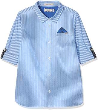 Scotch & Soda Shrunk Boy's Blue Series Shirt with Roll-up Sleeves & Detachable Pocket S Blouse,(Size: 10)
