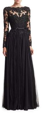 Badgley Mischka Lace Bodice Georgette A-Line Gown
