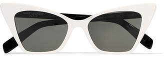 Saint Laurent Two-tone Cat-eye Acetate Sunglasses - White