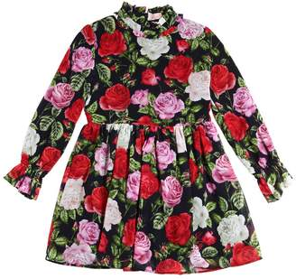 Miss Blumarine Floral Printed Crepe Dress