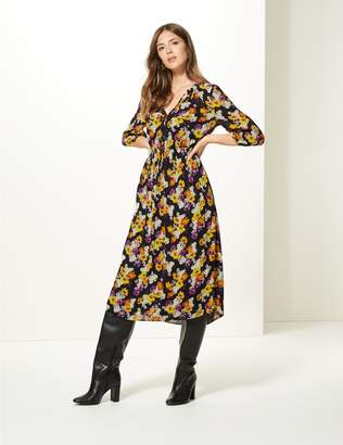 Marks and Spencer Floral Print 3/4 Sleeve Midi Dress