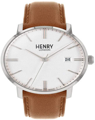 Henry London Unisex Regency Classic Analog White Dial Silver Case Brown Leather Band Watch 40 mm