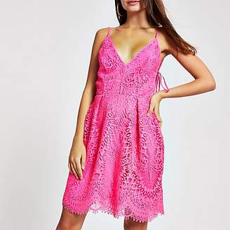 River Island Pink lace skater dress