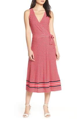 Leota Justine Border Print Wrap Dress