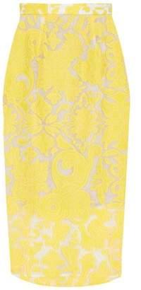Roland Mouret Norley Crepe-Paneled Fil Coupé Cotton And Silk-Blend Skirt