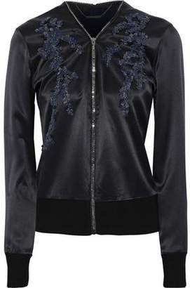 Elie Tahari Preeya Embellished Wool-Paneled Silk-Satin Jacket