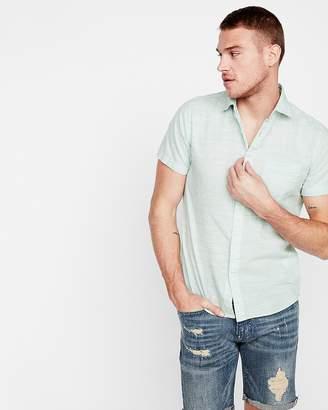 Express Slim Space Dyed Slub Short Sleeve Shirt