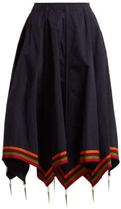 J.W.Anderson Handkerchief Hem Cotton Skirt - Womens - Navy